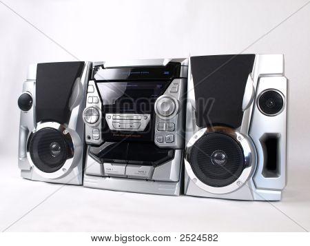 Silver Boom Box Stereo Angle
