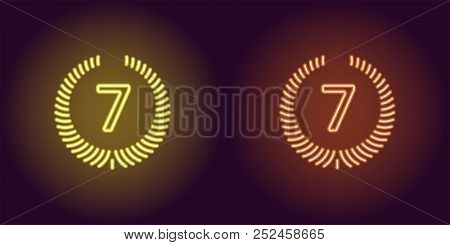 Neon Seventh Place In Yellow And Orange Color. Vector Illustration Icon Of Seventh Position In Glowi