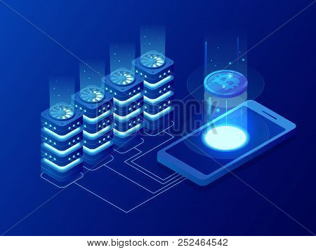 Isometric Mining Bitcoin Farm. Cryptocurrency, Blockchain, Bitcoin Mining Concept. Big Data Processi