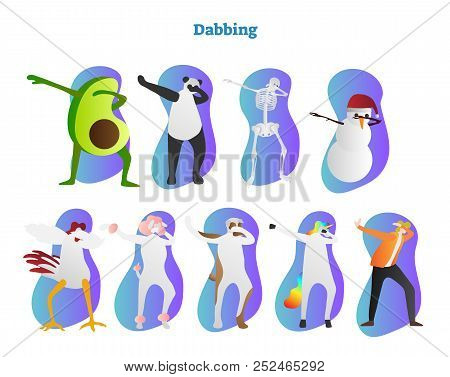 Dabbing Vector Illustration. Avocado, Panda, Skeleton And Snowman Is Dropping Head In Bent Crook. Ch