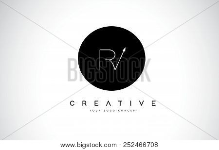 Rv R V Logo Design With Black And White Creative Icon Text Letter Vector.