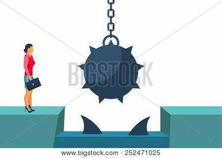 Businesswoman Obstacle Concept. Hurdle On Way. Business Risk. Overcoming Obstacle On Road With Float