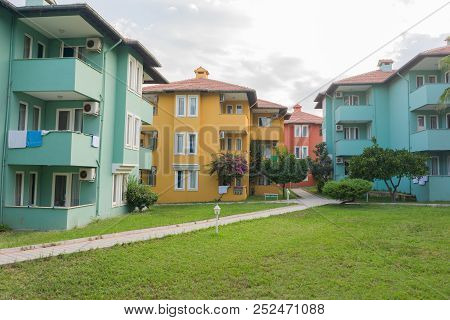 Summer Luxury Resort Hotel Buildings, Exterior Of Hotel Building At Summer, Landscape With Colors Ho