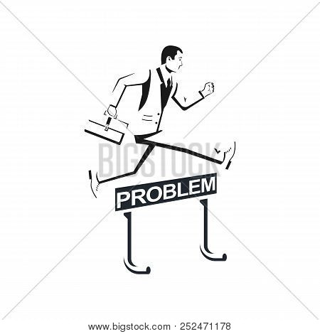 Businessman In Suit Silhouette With Briefcase Confidently Jump Over Barrier. Overcoming Problems. So