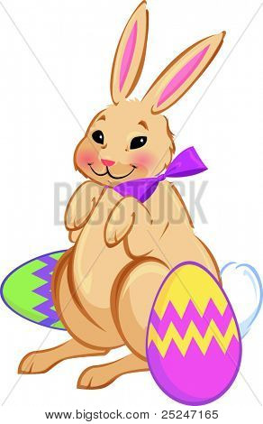 Vector of the Easter Bunny with painted eggs