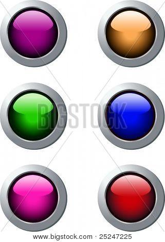 Vector Web Buttons 6 colors