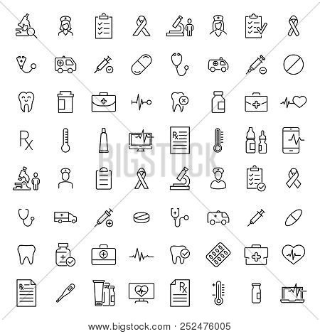 Set Of Healthcare Thin Line Icons. High Quality Pictograms Of Medical. Modern Outline Style Icons Co