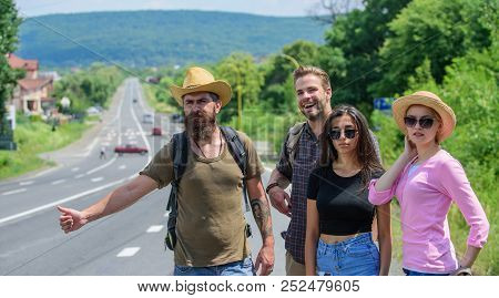 Friends Hitchhikers Travelling Summer Sunny Day. Begin Great Adventure In Your Life With Hitchhiking