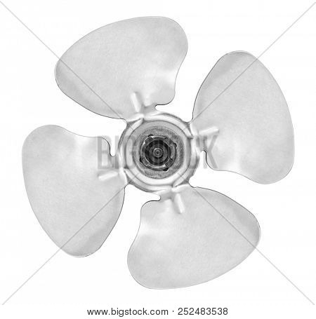 Four blade aluminum propeller isolated on white background, included clipping path