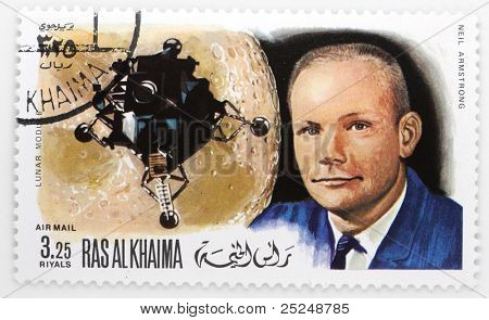 RAS AL-KHAIMAH - CIRCA 1979: A stamp printed in The Ras al-Khaimah shows The Neil Armstrong it is the first person to set foot on the surface of the moon with spaceship Apollo 11, circa 1979.