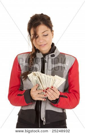 Biker Woman Fan Money