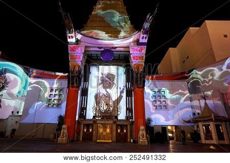 LOS ANGELES - OCT 24: 3d mapping outside the TCL Chinese Theatre IMAX at Michael Jackson Scream Halloween Takeover at TCL Chinese Theatre IMAX on October 24, 2017 in Los Angeles, California