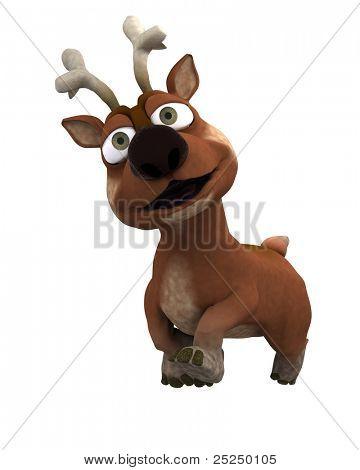 3D Render of a cute reindeer charicature poster