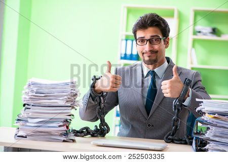 Employee chained to his desk due to workload poster