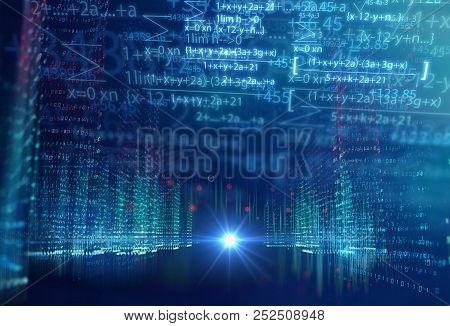 Digital City Scape With Digit Number Elements Illustration