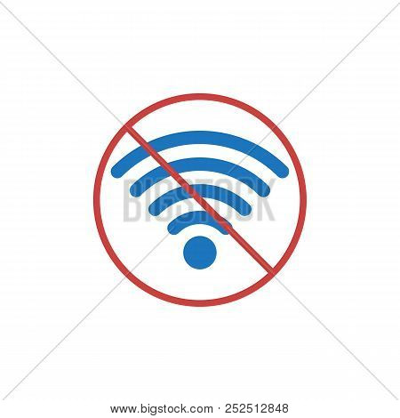 No Wifi Flat Icon, Vector Sign, Colorful Pictogram Isolated On White. Wifi Forbidden Areas Symbol, L