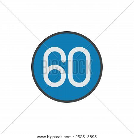 Speed Limit 60 Kilometers Flat Icon, Vector Sign, Colorful Pictogram Isolated On White. Road Sign Sy