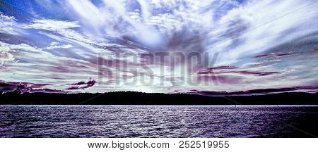 An Eye Catching Inspirational Skyscape Sunset With White And Purple, Predominantly Cirrus, Cloud, In