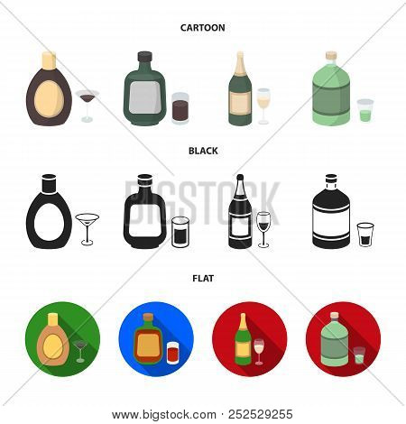 Liquor Chocolate, Champagne, Absinthe, Herbal Liqueur.alcohol Set Collection Icons In Cartoon, Black
