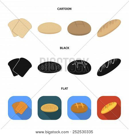 Toast, Pizza Stock, Ruffed Loaf, Round Rye.bread Set Collection Icons In Cartoon, Black, Flat Style