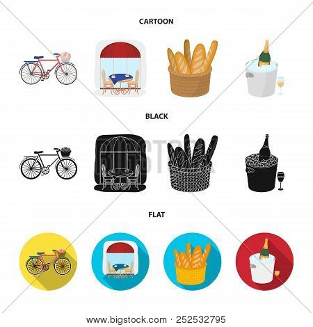 Bicycle, Transport, Vehicle, Cafe .france Country Set Collection Icons In Cartoon, Black, Flat Style