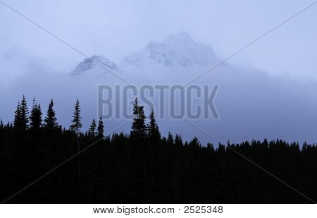 Mountain With Low Clouds And Forest In Foreground, Yukon Territory, Canada