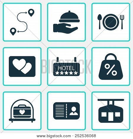 Journey Icons Set With Route, Transportation Of Suitcase, Picture And Other Sale Elements. Isolated