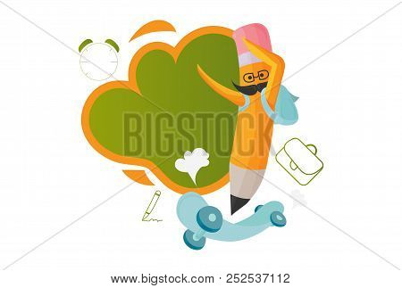Vector Illustration For Back To School Materials: Happy Pencil On A Skateboard, Place Or Space For T