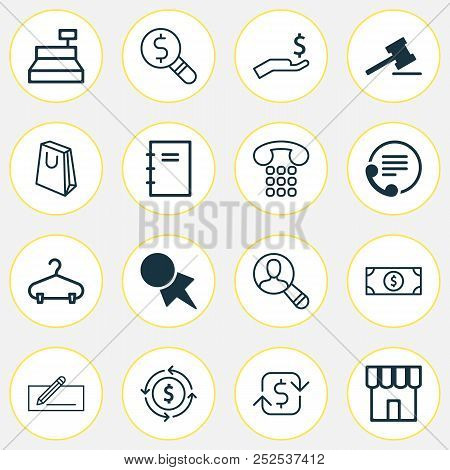 Ecommerce Icons Set With Refund Money, Paper Tag, Currency Interchange And Other Spiral Notebook Ele
