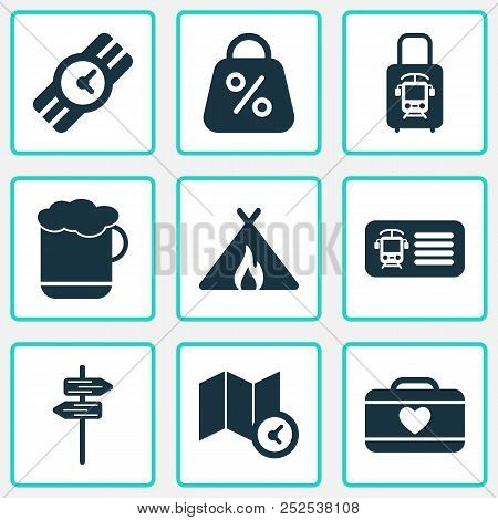 Journey Icons Set With Pointers, Tent With Fire, Discount And Other Signpost Elements. Isolated  Ill