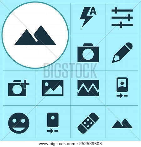 Photo Icons Set With Photographing, Smartphone, Automatic And Other Picture Elements. Isolated  Illu