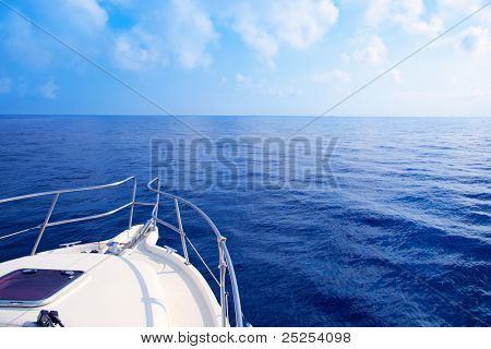 Boat bow sailing in blue Mediterranean sea in summer vacation