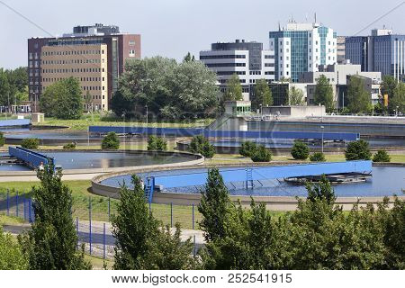 Drinkwater Purification Plant With Office Buildings In The Background In Capelle Aan Den Ijssel In T