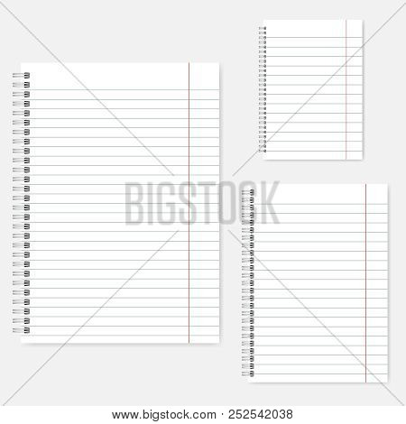 Set Of Wire Bound Lined Notebooks, Vector Mockup. A4, A5, A6 Size. Spiral Spring Notepads, Template