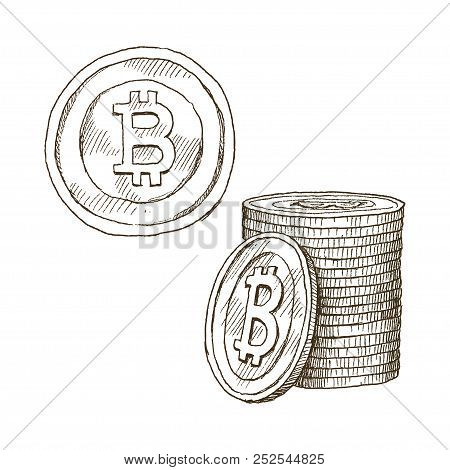 Doodle Icons Of Coins On The Isolated White Background. Cryptocurrency Bitcoin. Symbols Of Currencie