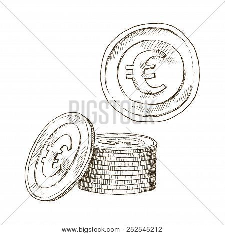 Doodle Icons Of Coins On The Isolated White Background. Money Euro. Symbols Of Currencies In Hand Dr
