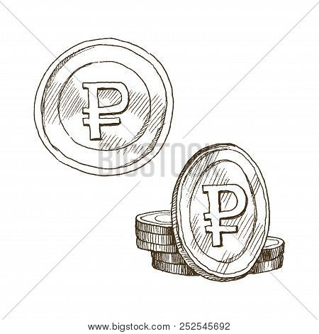 Doodle Icons Of Coins On The Isolated White Background. Money Ruble. Symbols Of Currencies In Hand D
