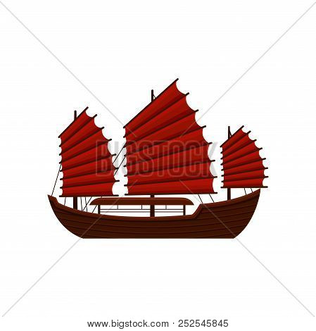 Traditional Chinese Junk Boat With Red Sails. Old Wooden Sailing Ship. Asian Marine Vessel. Symbol O