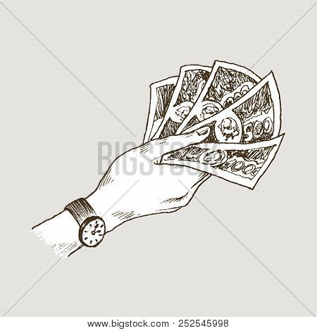 Doodle Icons Of Hand Holds Banknotes Isolated On Background. Money Euro, Dollar. Symbols Of Currenci