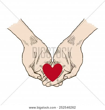Hands Asking Posture. One Hand On Top Of Other With Red Heart Pop-art Vector. Church, Hands, Blessin
