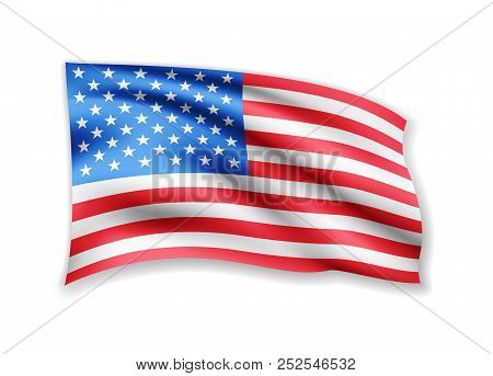 Waving Usa Flag On White. American Flag In The Wind.