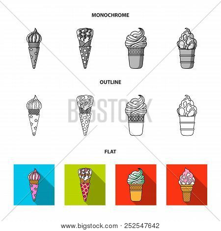Ice Cream On A Stick, In A Waffle Cone And Other Species. Ice Cream Set Collection Icons In Flat, Ou