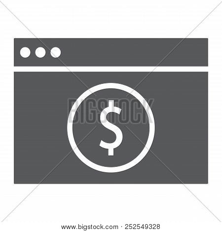 Online Banking Glyph Icon, Finance And Banking, Payment Sign, Vector Graphics, A Solid Pattern On A