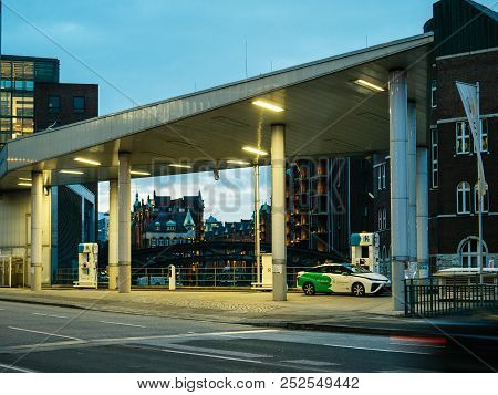 Hamburg, Germany - Mar 21, 2018: Ecologic Clevershuttle Car Sharing Driver Fueling A Hydrogen-powere
