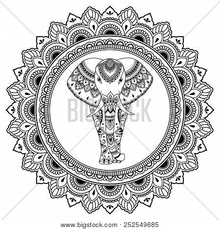 African Elephant In Mandala Decorated With Indian Ethnic Floral Vintage Pattern. Hand Drawn Decorati