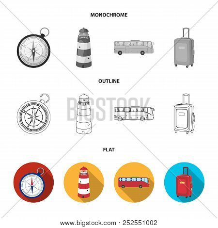 Vacation, Travel, Lighthouse, Compass .rest And Travel Set Collection Icons In Flat, Outline, Monoch