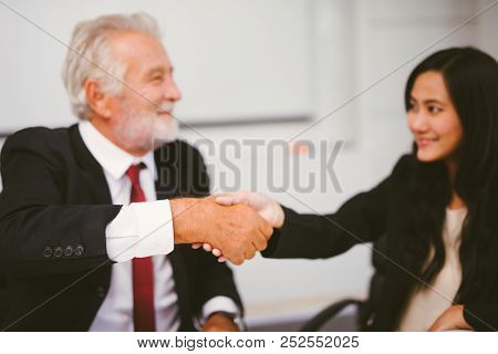 Business People Partnership Handshake Concept.photo Two Businessman Handshaking Process.successful D