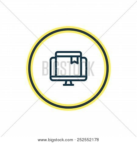 Vector Illustration Of Online Bookmark Icon Line. Beautiful Education Element Also Can Be Used As Eb