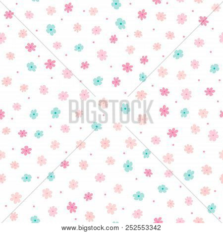 Repeated Small Cute Flowers And Round Dots. Simple Girly Floral Pattern. Endless Feminine Print. Vec