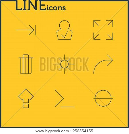 Illustration Of 9 User Icons Line Style. Editable Set Of Trash, Low Brightness, Publish And Other Ic